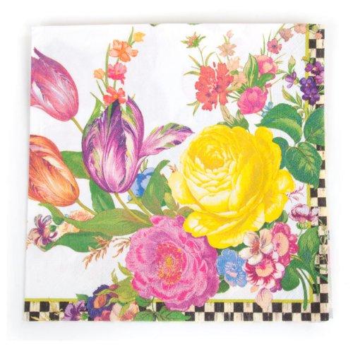 """MacKenzie-Childs Flower Market Paper Napkins - Dinner - White (8"""", 20 per Pack)"""