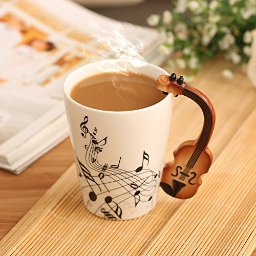 Buyneed 12 oz Violin Music Unique Art Coffee Milk Ceramic Mug Cup Christmas Birthday Best - Christmas Gift Unusual