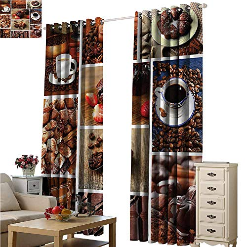 Fakgod Living Room/Bedroom Window Curtains Brown Coffee and Chocolate Collage Curtains for Living Room W84x108L