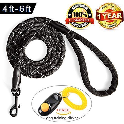Heavy Duty Dog Leash for Large Medium Dogs - Strong Chew Proof Climbing Rope With Reflective Stitching for Night-Time Safety-Comfortable Handle For The Biggest Pulling Dog (6 feet, Reflective Black)