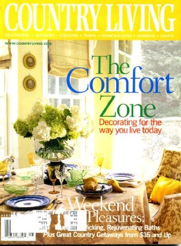 - Country Living August 2001 Decorating for the Way You Live, Rejuvenating Baths, Pennsylvania's Brandywine Valley Stone Farmhouse, Blackberry Harvest, Milk Glass, Make a Berry Wreath, Vintage Canvas Beach Chairs, New York City's Magnolia Bakery