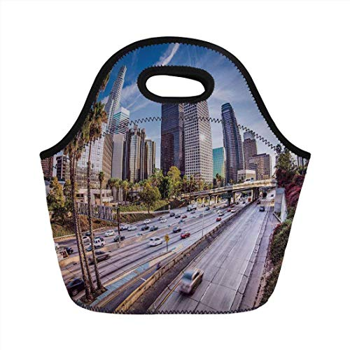 Portable Bento Lunch Bag,Travel Decor,Downtown Cityscape of Los Angeles California USA Avenue Buildings Palms,Blue Grey Green,for Kids Adult Thermal Insulated Tote -