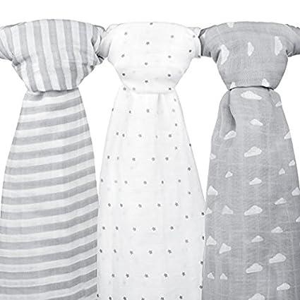 Mantas de muselina para bebé, 120 x 120 cm, 3 unidades, color gris nube, diseño de rayas y estrellas
