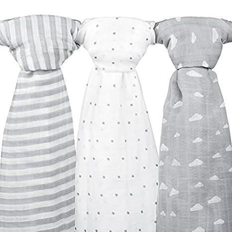 Mantas de muselina para bebé, 120 x 120 cm, 3 unidades, color gris nube, diseño de rayas y estrellas: Amazon.es: Bebé