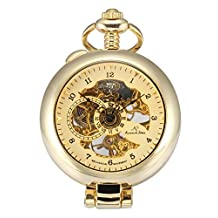 KS KSP062 Men's Skeleton Golden Half Hunter Hand-Winding Mechanical Analog Pocket Watch + Chain