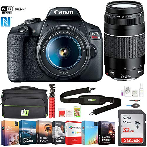 Canon EOS Rebel T7 DSLR Camera with EF18-55mm + EF 75-300mm Double Zoom Kit (2727C021) w/ 32GB Deluxe Accessory Bundle Includes, Deco Gear Camera Bag and Photo and Video Professional Editing Suite