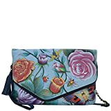Anuschka Hand Painted Designer Leather Handbag-Christmas gifts for women- Convertible Envelope Clutch Wristlet (Roses D'Amour 607 RDM)
