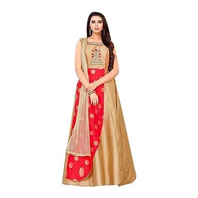 759d197f9 Amazon.com  Latest Indian pakistani Silk Gown Long dress Anarkali ...