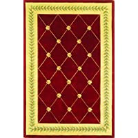 KAS Oriental Rugs Ruby Collection Trellis Area Rug, 30 x 50, Ruby/Gold