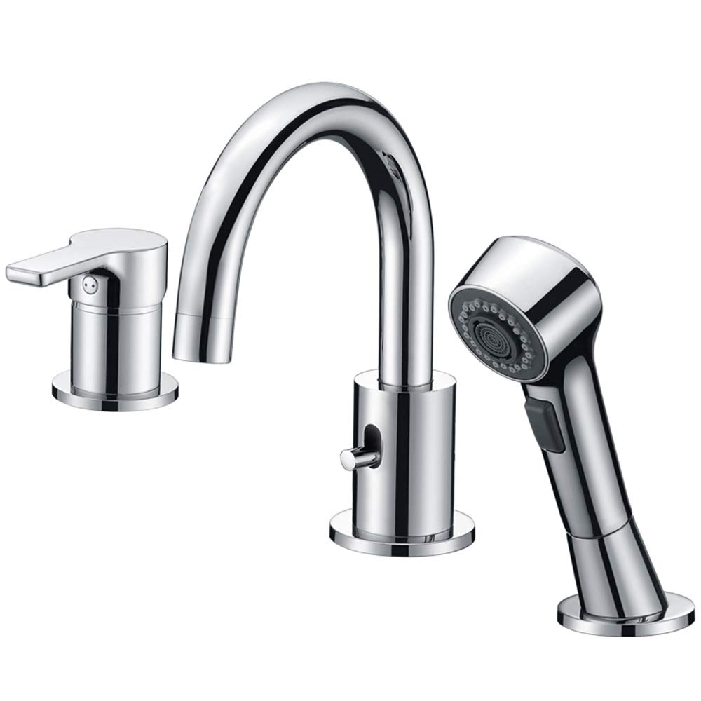 Bathroom Faucet 3 Hole Chrome Crea Widespread Bathtub Vanity Lavatory Faucet with Pull Out Shower Head by CREA