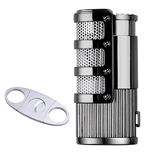 (Gift Set Triple Jet Flame Cigarette Cigar Torch Lighter with Cigar Scissors, Silver+Black)