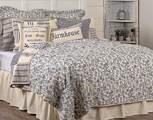 Piper Classics Doylestown Blue Queen Patchwork Quilt, Gingham Checks, Grain Sack & Ticking Stripes, Reversible to Floral Print, Blue & Cream Vintage Farmhouse Bedding, Rustic Country, Cottage Bedroom by Piper Classics (Image #3)