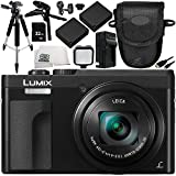 Panasonic Lumix DC-ZS70 Digital Camera (Black) 11PC Accessory Bundle – Includes 32GB SD Memory Card + 2X Replacement Batteries + More – International Version (No Warranty)