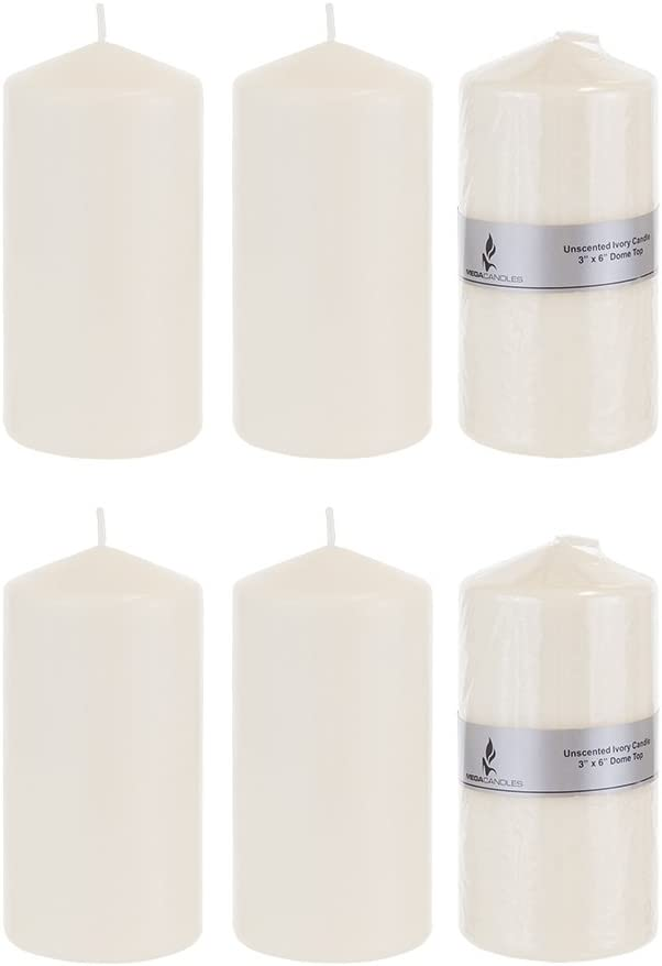 Mega Candles 6 pcs Unscented Ivory Round Pillar Candle, Pressed Premium Wax Candles 3 Inch x 6 Inch, Home Décor, Wedding Receptions, Baby Showers, Birthdays, Celebrations, Party Favors & More