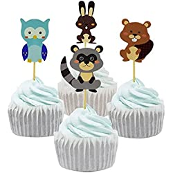 YunKo 24 Pcs Woodland Forest Animal Owl Cupcake Muffin Toppers Baby Shower Birthday Party Favors