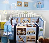 SoHo Happy Voyage Baby Crib Nursery Bedding Set 14 pcs included Diaper Bag with Changing Pad & Bottle Case