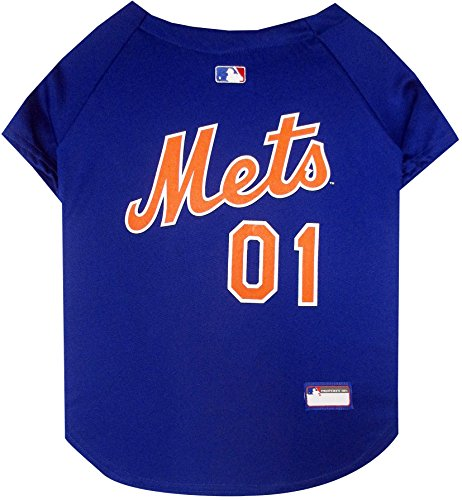 Pets First MLB NEW YORK METS Dog Jersey, Medium. - Pro Team Color Baseball Outfit
