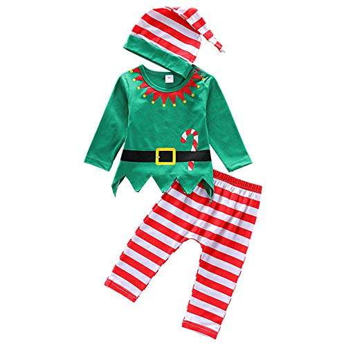 Asisol 3Pcs Baby Girls Boys Christmas Outfits Long Sleeve Santa Elf Printed Tops + Striped Pant Sets with Hat (Multicolor, 90/6-12 Months)]()