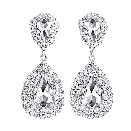 Les Bohémiens Rhinestone Crystal Silver Dangle Teardrop Earrings in Emerald Green Sapphire Blue and Champagne Yellow (Clear Crystal, Pierced) ()