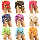 Hip Scarves, DROK 10PCS/LOT Hip Scarfs for Belly Dancing with 128-Gold Coins, Waist Costume Belt Chiffon Dangling Bellydance Sequins Hip Scarf