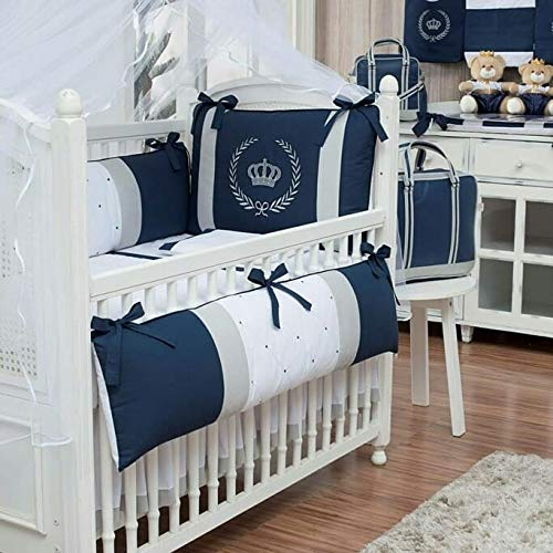 Crown Royal Theme Gray/Navy Baby Boy/Girl 08 pcs Embroidered Nursery Crib Bedding Set Bumpers + Sheet Set + Changing Pad - Embroidered Crib Bedding