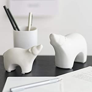Ceramic Polar Bear Figurines Sets, Home Decor Animal Sculptures and Statues Handmade Artware Gifts (White, 2)