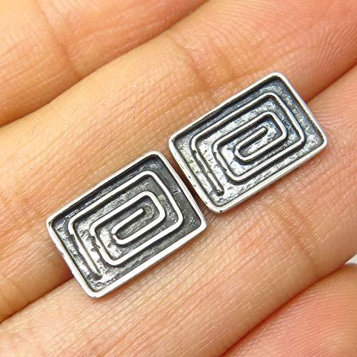 France Signed - Vintage France Signed 925 Sterling Silver Spiral Maze Design Earrings