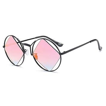 QZHE Gafas de sol Gafas De Sol Redondas Mujer Hombre Rombo ...