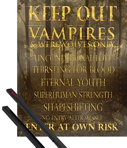 1art1 Poster + Hanger: Fun Mini Poster (20x16 inches) Keep Out, Vampires and Werewolves Only and 1 Set of Black Poster Hangers ()