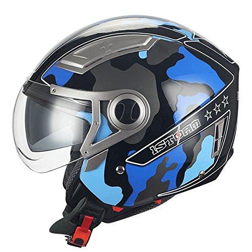 (1STORM MOTORCYCLE OPEN FACE HELMET SCOOTER BIKE DUAL LENS/SUN VISOR BLUE CAMO )