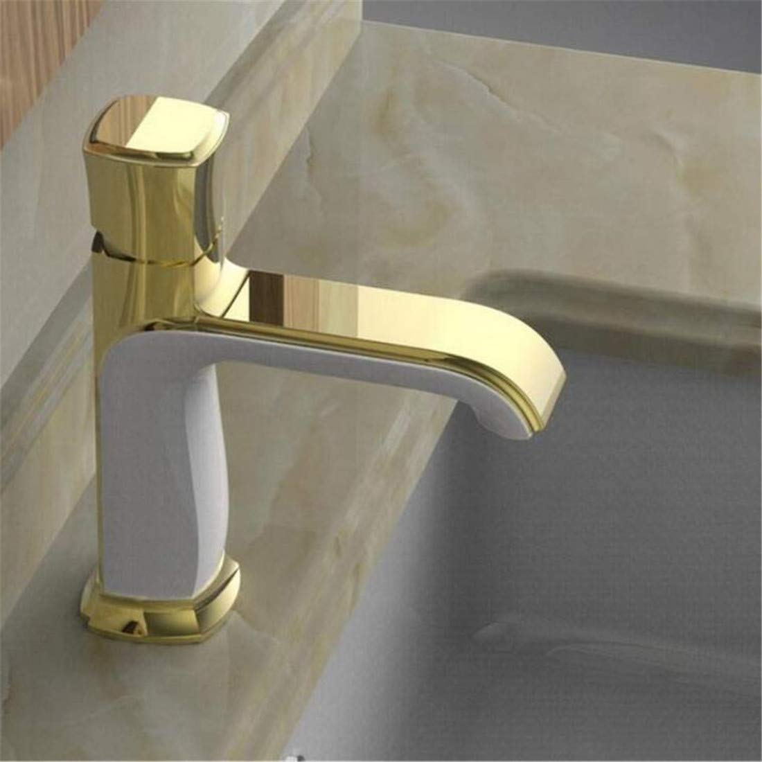 Modern simple copper hot and cold kitchen sink taps kitchen faucet Copper hot and cold waterfall faucet water power LED basin faucet Suitable for all bathroom kitchen sinks Janitorial & Sanitation Supplies