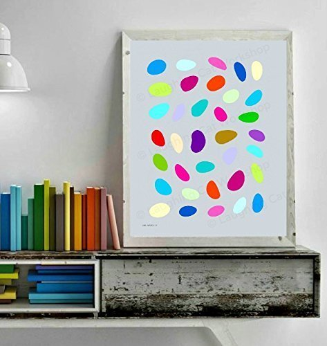 Candy art print Jellybeans art Scandinavian design Mod Moder