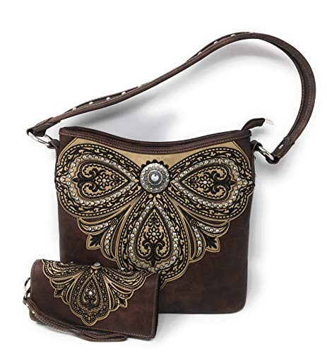 Large Hobo Accented - Montana West Set of Women's Concealed Carry Hobo Single Strap Purse with Paisley Floral Design with Matching Wallet (Dark Brown)