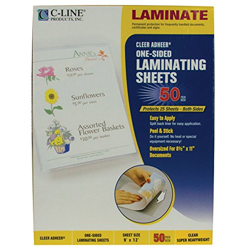 - C-Line Super Heavyweight Cleer Adheer Laminating Film Sheets, Clear, 9 x 12 Inches, 50 per Pack (65003)