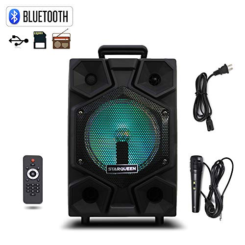 Starqueen 8 Inch Portable PA Speaker System with Microphone, Battery Powered Rechargeable Karaoke Loudspeaker DJ Speaker with Flashing Lights, Bluetooth Music Streaming, FM Radio/MP3/USB/TF ()