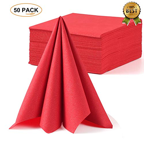 LEKOCH Valentine's day Red Disposable Guest Towel Linen Feel Dinner Napkin Paper | Air-laid Napkins, Soft, Absorbent, Paper Hand Towels for Kitchen Parties Weddings |16