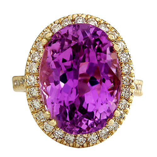 Kunzite Yellow Ring - 18.62 Carat Natural Pink Kunzite and Diamond (F-G Color, VS1-VS2 Clarity) 14K Yellow Gold Cocktail Ring for Women Exclusively Handcrafted in USA