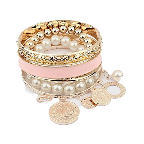 Coin Bracelets Hook (DDLBiz 1 Set Fashion New Girls Women Exquisite Coin Pearl Hollow Bracelet Jewelry (A))