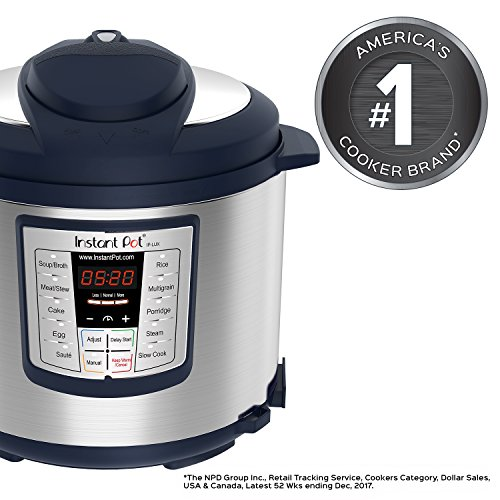 Instant Pot Lux 6-in-1 Electric Pressure Cooker, Slow Cooker, Rice Cooker, Steamer, Saute, and Warmer|6 Quart|Navy|12 One-Touch Programs