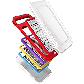 Vremi 5 Piece Cheese Grater Set with Container - Microplane Zester Parmesan Cheese Shredder Vegetable Slicer Cheese Graters - Fine and Coarse Metal Hand Cheese Grater Adjustable Hard Cheese Slicer 31 MULTIPURPOSE INTERCHANGEABLE GRATERS - Manual cheese grater set with small, flat and portable handheld interchangeable stainless steel grate blades and snap on storage container for shredded or grated leftovers. Perfect for kitchen, camping or travel HEAVY DUTY AND LIGHTWEIGHT - Easy to use with blades for grating mini or micro shreds of cheddar, and a long peeler shaped blade for shaving vegetables, chocolate and more. Sturdy no slip BPA free plastic bases keep kids hands safe from sharp edges WITH STORAGE CONTAINER - All 4 coarse, fine, microplane, and slicer blades snap easily into the base and can be stored inside the gadgets holder for easy organization; shred food ingredients directly into container to keep tabletop and counter clean