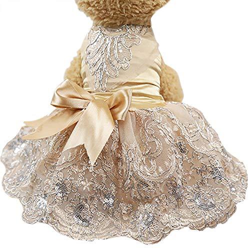 Howstar Pet Dress Lace Princess Wedding Dresses for Dog Puppy Elegant Cute Clothes Soft Silk Apparels (XL, Khaki)
