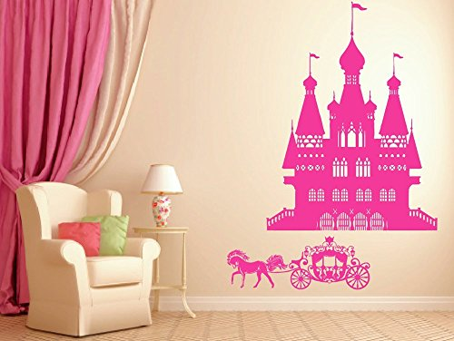 A Top Decals ik941 Wall Decal Sticker Castle Princess Cinderella Carriage Horse Kids Room (Horse And Princess Wall Decals)