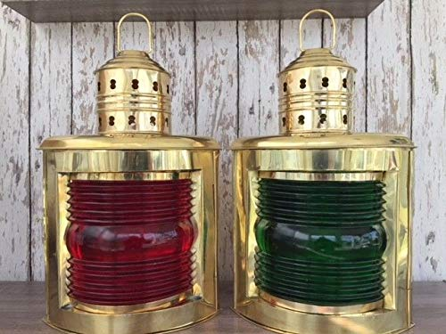 Rustic & Primitive Crafting Supplies (B) Manufactured to Look Antique 14'' Deluxe Brass Port & Starboard Lanterns ~ Ship Oil Lamp ~ Nautical Maritime Inspiration for A Project