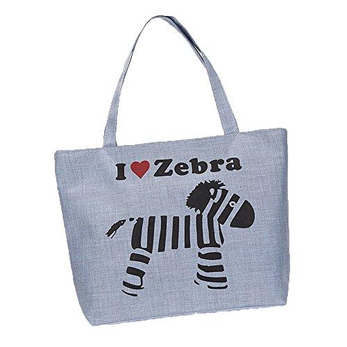 donne ragazze moda lettera zebra stampa tela sacchetto di spalla tote bag Borsa a tracolla Borse a mano, grigio