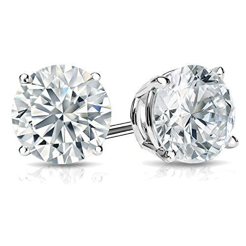 0.50ct Solitaire Diamond Stud Earrings 14k White Gold Screw Back (I Color VVS1-VVS2 Clarity) by Diamond2Deal