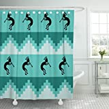 TOMPOP Shower Curtain Blue Southwest Southwestern in Cool Turquoise Colors Teal Kokopelli Waterproof Polyester Fabric 72 x 72 Inches Set with Hooks