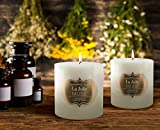 #7: LA JOLIE MUSE Citronella Candles Scented Pack 2 Pillars for Mosquito Repels, 140 Hours Burn, Outdoor and Indoor, Natural Wax, Large White
