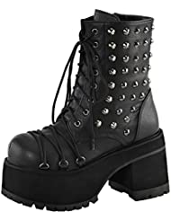 Summitfashions Womens Studded Combat Boots Platform Shoes Ankle Boots Lace up 4 inch Heels