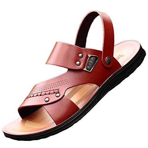 Hombres Playa Brown Peep Playa Sandalias Zapatos Zapatos De Zapatillas De Los Tamaño De Casual Baño Cuero Antideslizante Toe ITI4dxw0