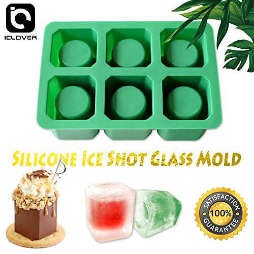 (IC ICLOVER Silicone Ice Shot Glass Mold, 6 Cups Square Green Ice Cube Tray, Jelly Tray, Chocolate Mold, Food Grade Silicone Ice Shot)